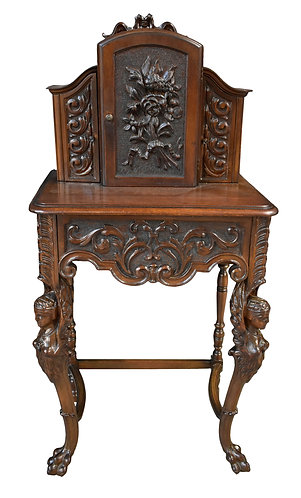 Carved Art Nouveau Telephone Stand