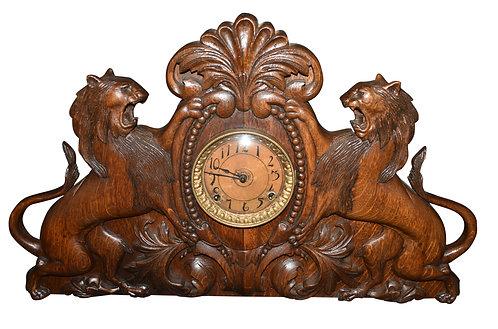 "Oak Lion Clock 15""h x 24""w"
