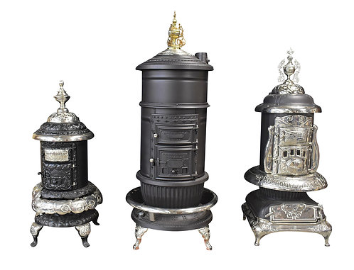 """Cast Iron Stoves All Restored ( 56""""h, 83""""h, 69""""h)"""