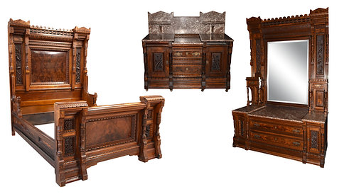 3 Pc Heavy Carved Walnut Bedroom Suite