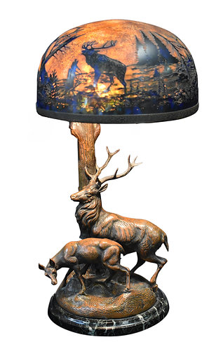 "Art Glass Figural Lamp with Deer 10""w x 20""h"