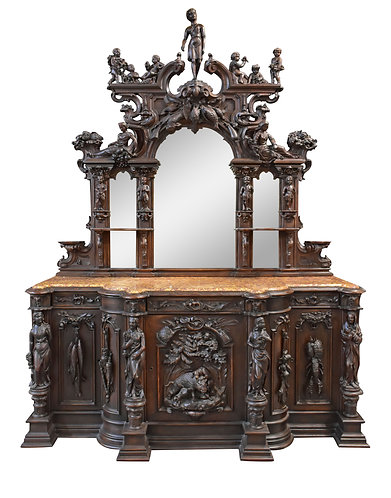 The Best Example of a Museum Quality Monumental American Carved Oak Sideboard