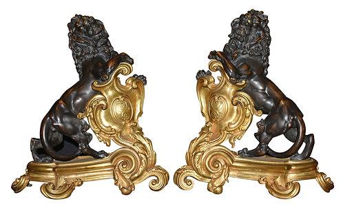 "Bronze Andirons w/ Lions 21""h"