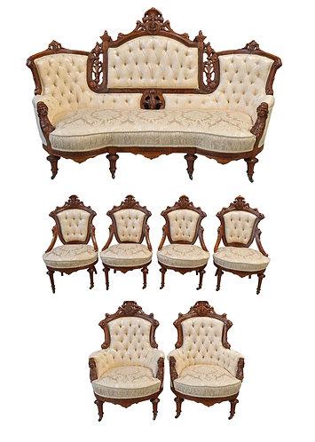 7 Pc Renaissance Parlor Suite Attr: J. Jelliff w/ Excellent Upholstery