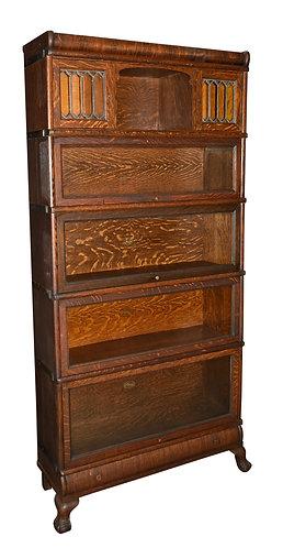 "Matching Set of 4 Quartersawn Oak Bookcases 34""w x 72""h"