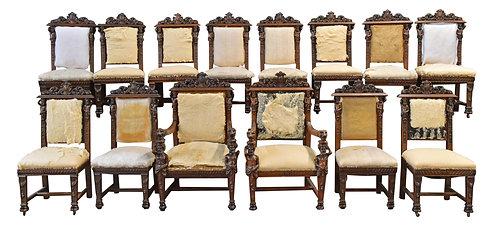 14 Matching Set of Oak Atlas Man Chairs