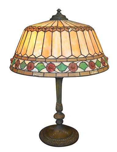 "Wilkinson Leaded Glass Lamp w/ Jeweled Border20"""