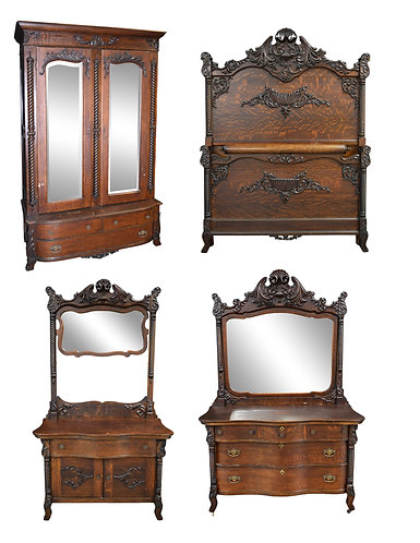 4Pc Carved Oak Bedroom Suite