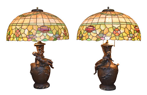 Pair of Art Nouveau Base Leaded Glass Lamps
