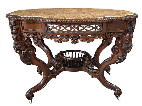 """Rosewood Marble Top Center Table by Charles Baudouine 31""""h x 43""""w"""