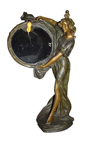 """Art Nouveau Lady Lamp Holding Mirror 32""""h"""