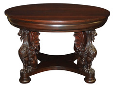 Round Mahogany Table with Griffins
