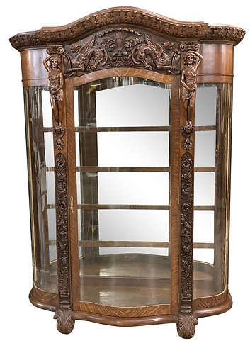 """Rare, Carved Oak China Cabinet w/ Griffins, Women, & Birds 56""""w x 77""""h"""