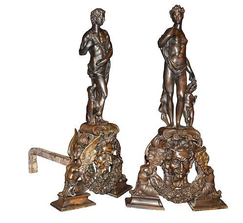 """Bronze Andirons 33""""h"""