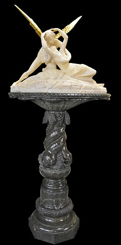 "Alabaster Cupid & Psyche 26""h x 33""w, Pedestal 44""H"