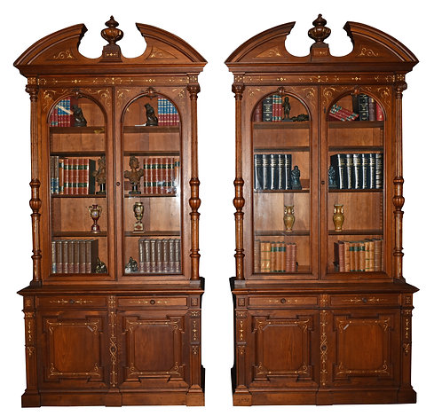 "Exceptional Matched Pair of Walnut Renaissance Bookcases 108""h x 51""w"