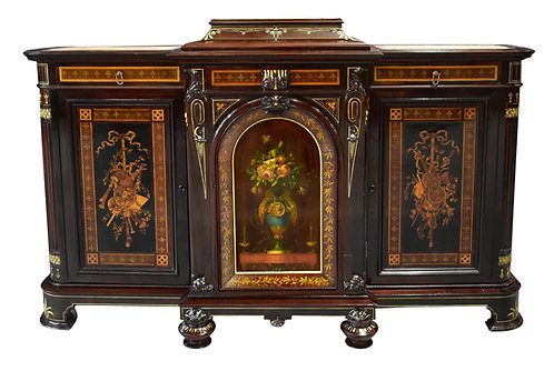 "Important Herter Brothers Credenza w/ Painted Door and Marquetry Inlay 78""x 50"""