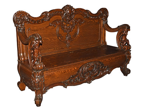 "Rare,  Carved Oak Bench w/ Cherubs 71""w x 41""h"
