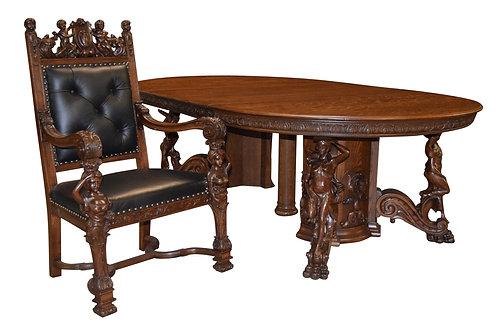 Rare, 10 pc Carved Oak Dining Room Suite w/ Art Nouveau Women