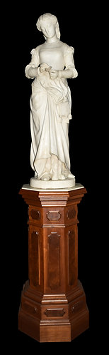 """Young Lady Holding a Flower Marble Statue Dated 1868 Signed P. Romanelli 42""""h"""