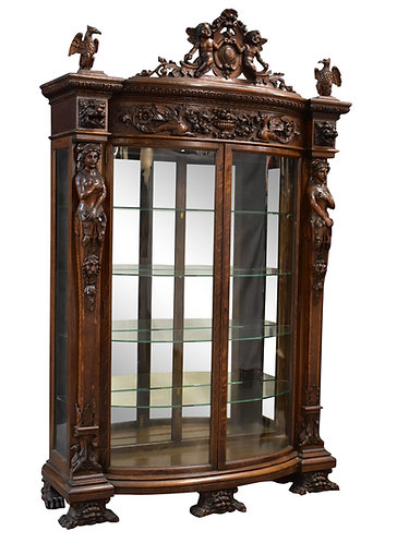 "R.J. Carved Oak China Cabinet 55""w x 87""h"