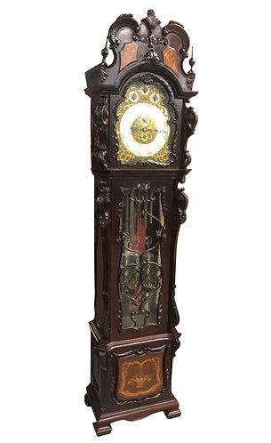 English Mahogany Inlaid 9-Tube Tall Case Grandfather Clock