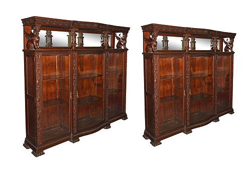 Matched Pair of  Mahogany Triple Door Winged Griffin Bookcases