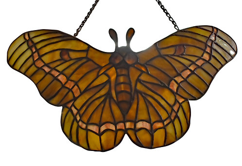 "Stained Glass Moth Hanging Pendant Attr: Tiffany & Co.7""h x 12'w"