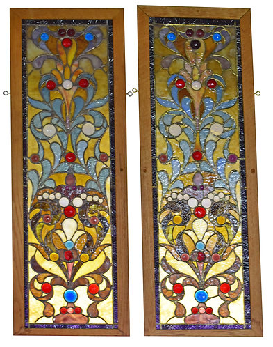 """Stained Glass Window 37""""h x 12""""w each"""