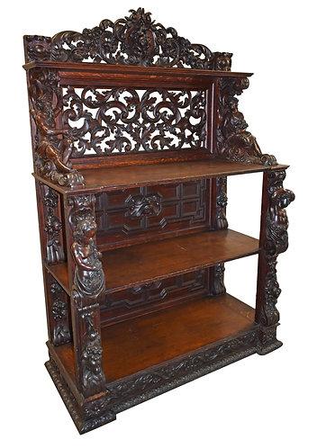 """Very Fine Carved Oak Server Attr: A. Roux 45""""w x 70""""h"""