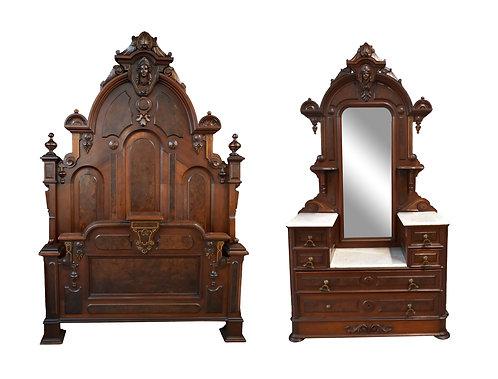 3 pc Victorian Walnut Bedroom Suite