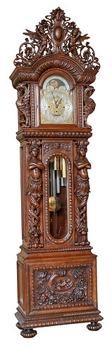 "American Carved Oak Tall Case Clock R.J. Horner, New York 10'h x 30""w"