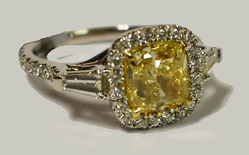 2.10ct Fancy Yellow Diamond Ring