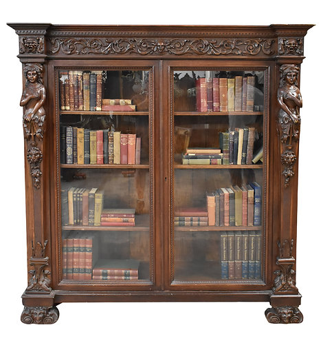 "Oak Bookcase w/ Ladies 66""h x 62""w"