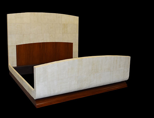 King Size Contemporary Bed Covered in White Leather