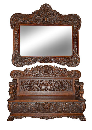 Very Rare, Heavy Carved Oak R.J. Horner Hall Bench w/ Hanging Matching Mirror