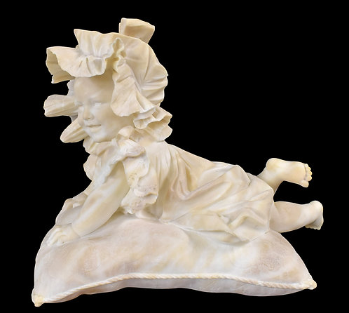 """Alabaster Baby on a Pillow 17""""h x 21""""w"""