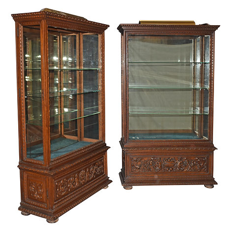 "Matched Pair of Carved Walnut Display Cases 43""w x 74""h"