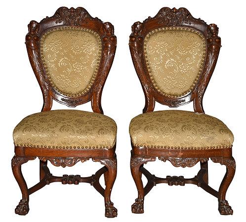 Rare, Pair of Oak Ladies Chairs