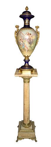 """34""""h Sevres Porcelain, Marble and Bronze Pedestal 43""""h"""
