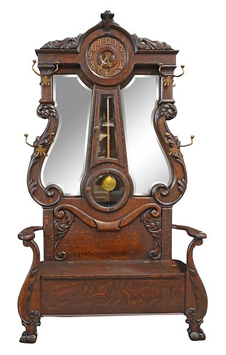 "Rare, Oak Clock Hall Seat 89""h x 48""w"