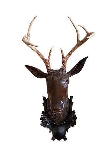 Carved Walnut Black Forest Wall Hanging Deer Mount