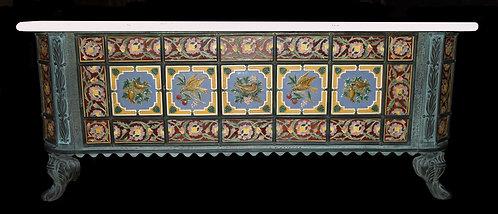 Victorian Bronzed Iron and Pottery Tile Mounted Bathtub w/ Minton Tiles