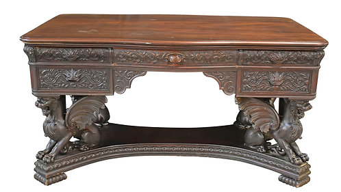 Carved Mahogany Griffin Desk