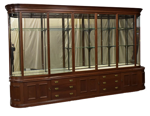 "Large Walnut Antique Victorian Display Cabinet 168""w x 98""h"