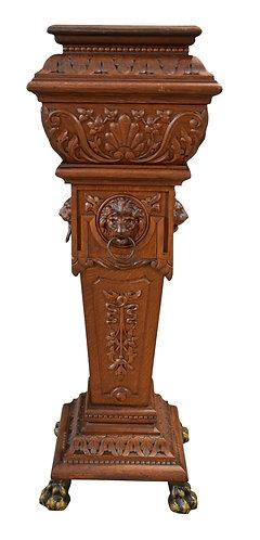 Rare, 4 Sided Carved Lion Oak Pedestal