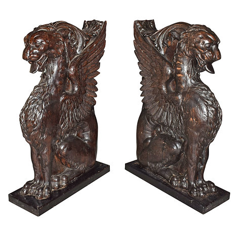 """Monumental Carved Oak Architectural Griffins Each 38""""h x 22""""w"""