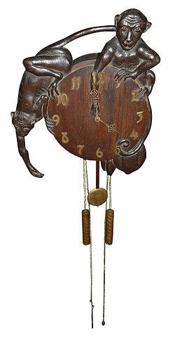 Very Rare, Oak Monkey Clock