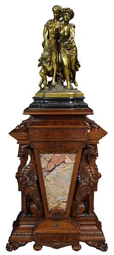 Walnut Griffin Pedestal w/ Marble Insert by Allen and Bros. , Bronze Gilt Statue