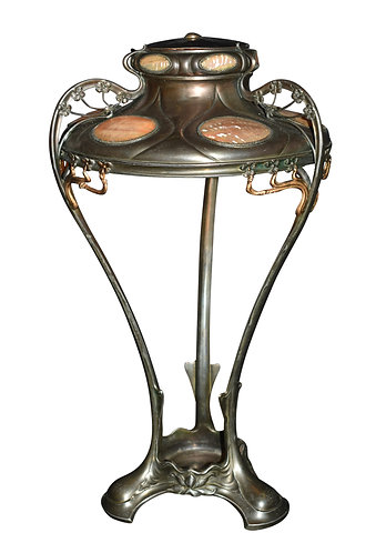 "Art Nouveau Table Lamp W/ Avalon Shell Insets 21""h x 11""w"